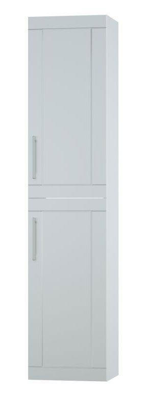Bad - Hochschrank Eluru 10, Farbe: Weiß glänzend – 160 x 35 x 35 cm (H x B x T)