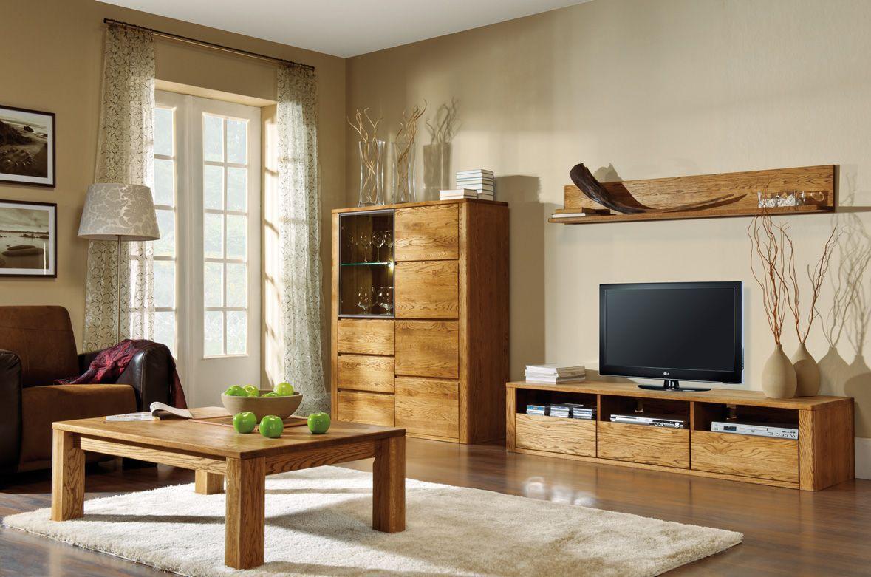 Wohnzimmer Komplett - Set I Jussara, 4 - teilig, teilmassiv, Farbe: Bernstein