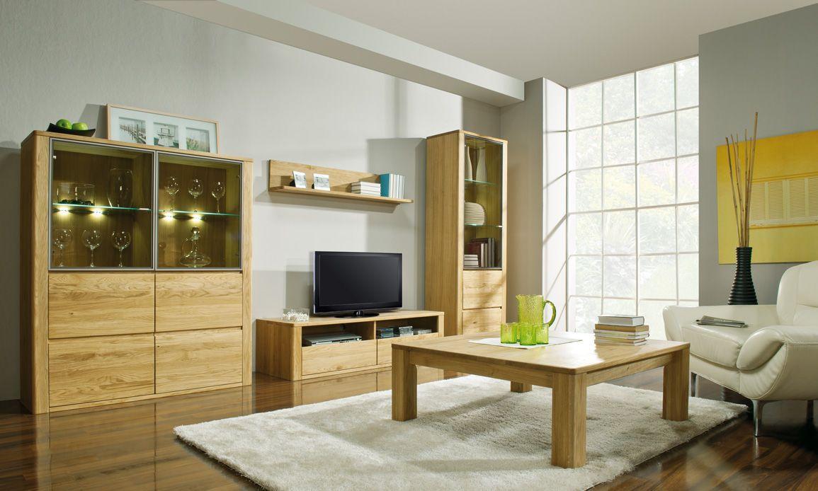 Wohnzimmer Komplett - Set J Jussara, 5 - teilig, teilmassiv, Farbe: Natur
