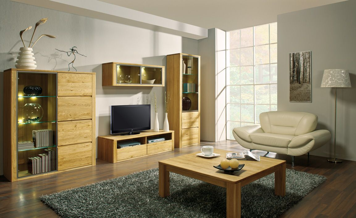 Wohnzimmer Komplett - Set O Jussara, 5 - teilig, teilmassiv, Farbe: Natur