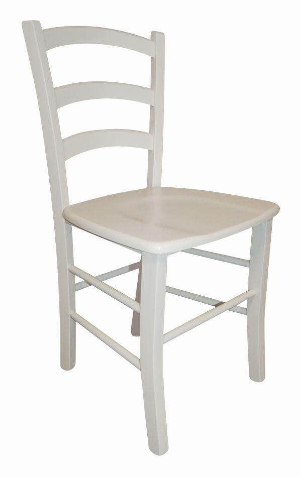 Stuhl Maridi 121, Farbe: Weiß, Buche massiv - Abmessungen: 86 x 43 x 43 cm (H x B x T)