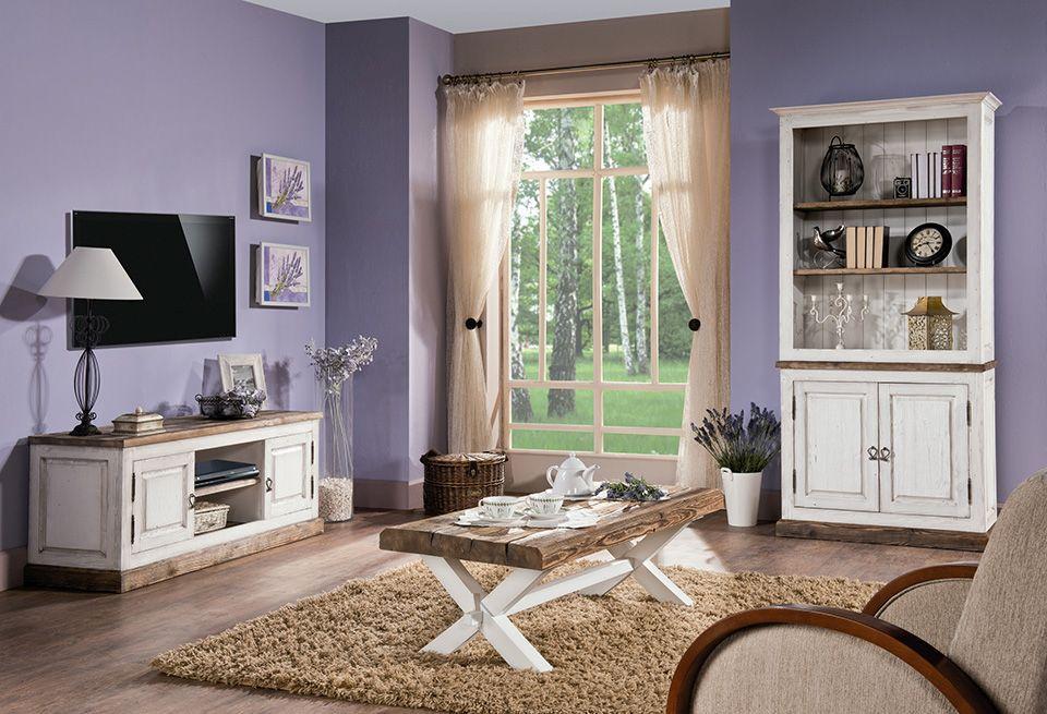 Wohnzimmer Komplett - Set A Kilkis, 3-teilig, teilmassiv, Farbe: Kiefer altweiß