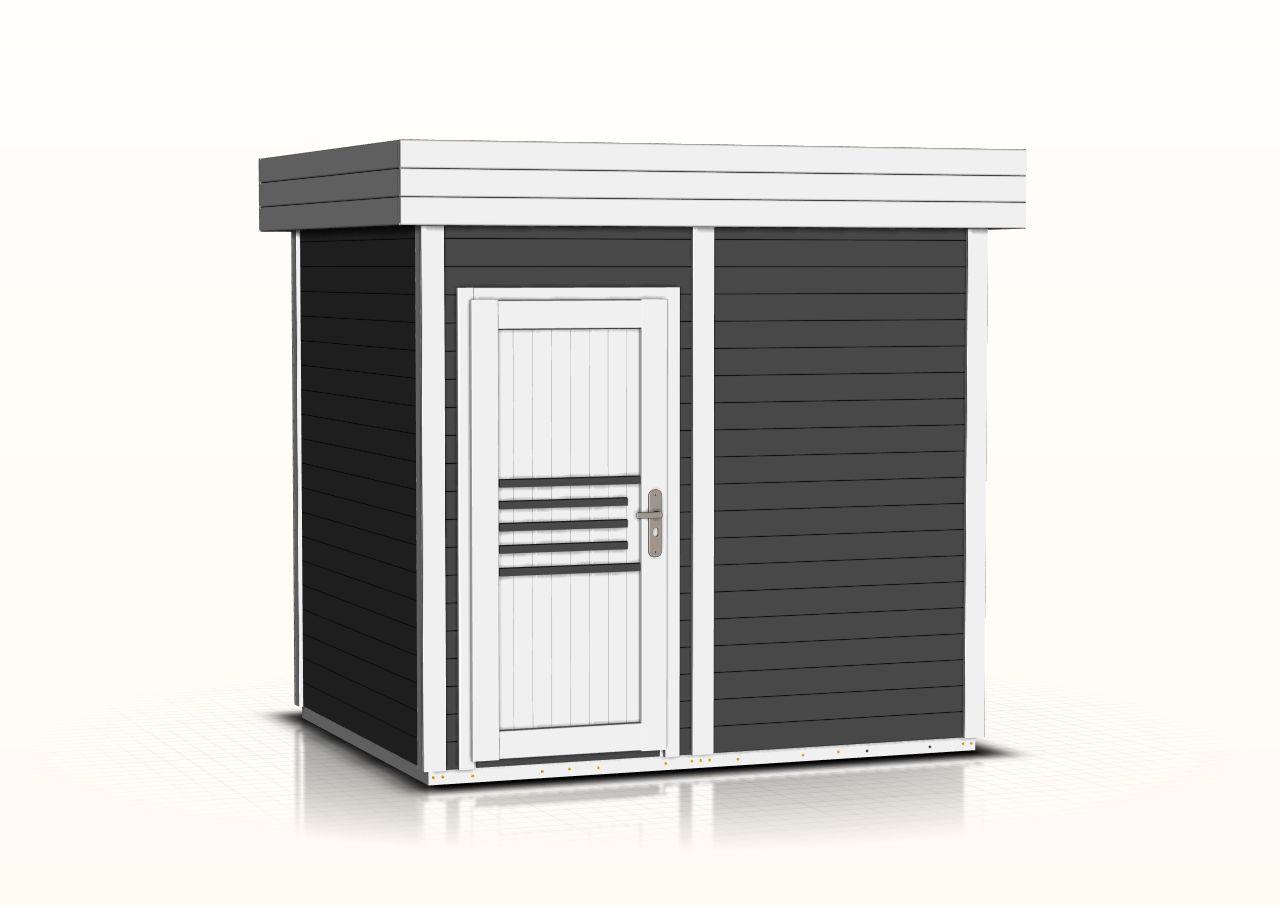 Saunahaus Tihama 40 mm, Farbe: Anthrazit / Weiß - Außenmaße (B x T): 254  x 204 cm