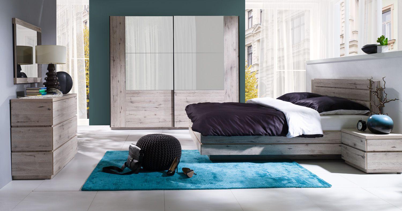 Schlafzimmer Komplett - Set D Sikinos, 5-teilig, Farbe: Eiche Canyon