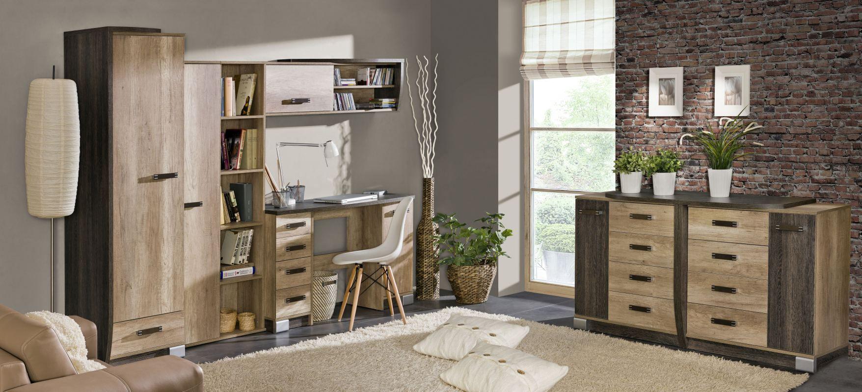 Wohnzimmer Komplett - Set D Sichling, 7-teilig, Farbe: Eiche Braun