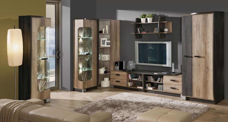 Wohnzimmer Komplett - Set A Sichling, 7-teilig, Farbe: Eiche Braun