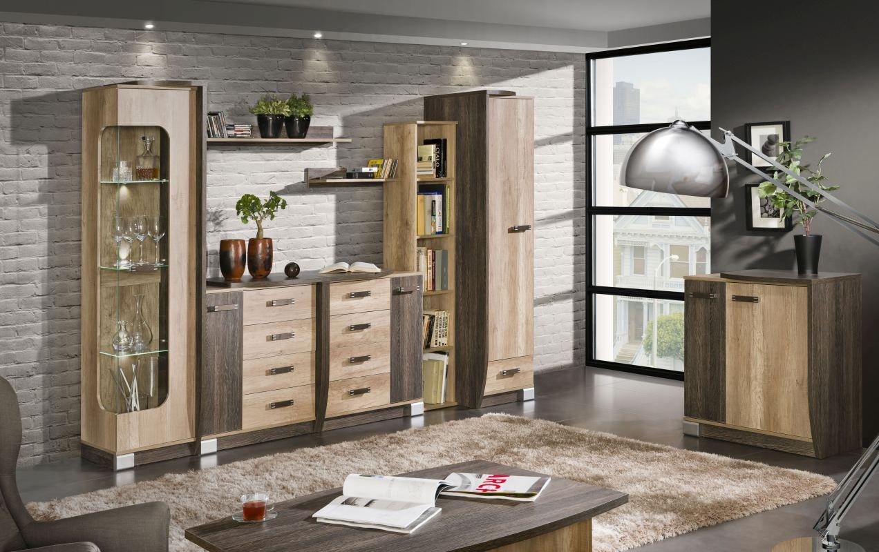 Wohnzimmer Komplett - Set B Sichling, 9-teilig, Farbe: Eiche Braun