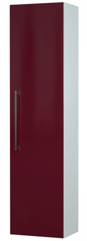 Bad - Hochschrank Bijapur 28, Farbe: Rot glänzend – 138 x 35 x 25 cm (H x B x T)
