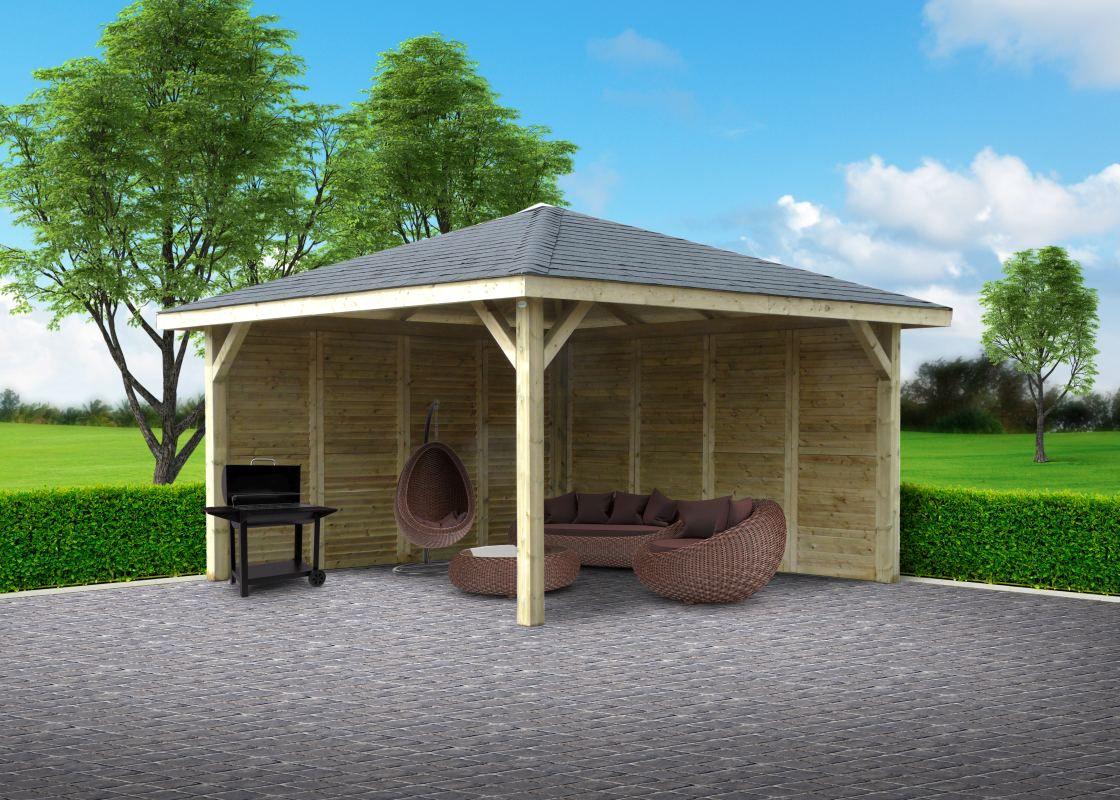 Pavillon Hedera S7774 - 120 x 120 mm Pfostenstärke, kesseldruckimprägniert, Grundfläche: 14,75 m², Satteldach