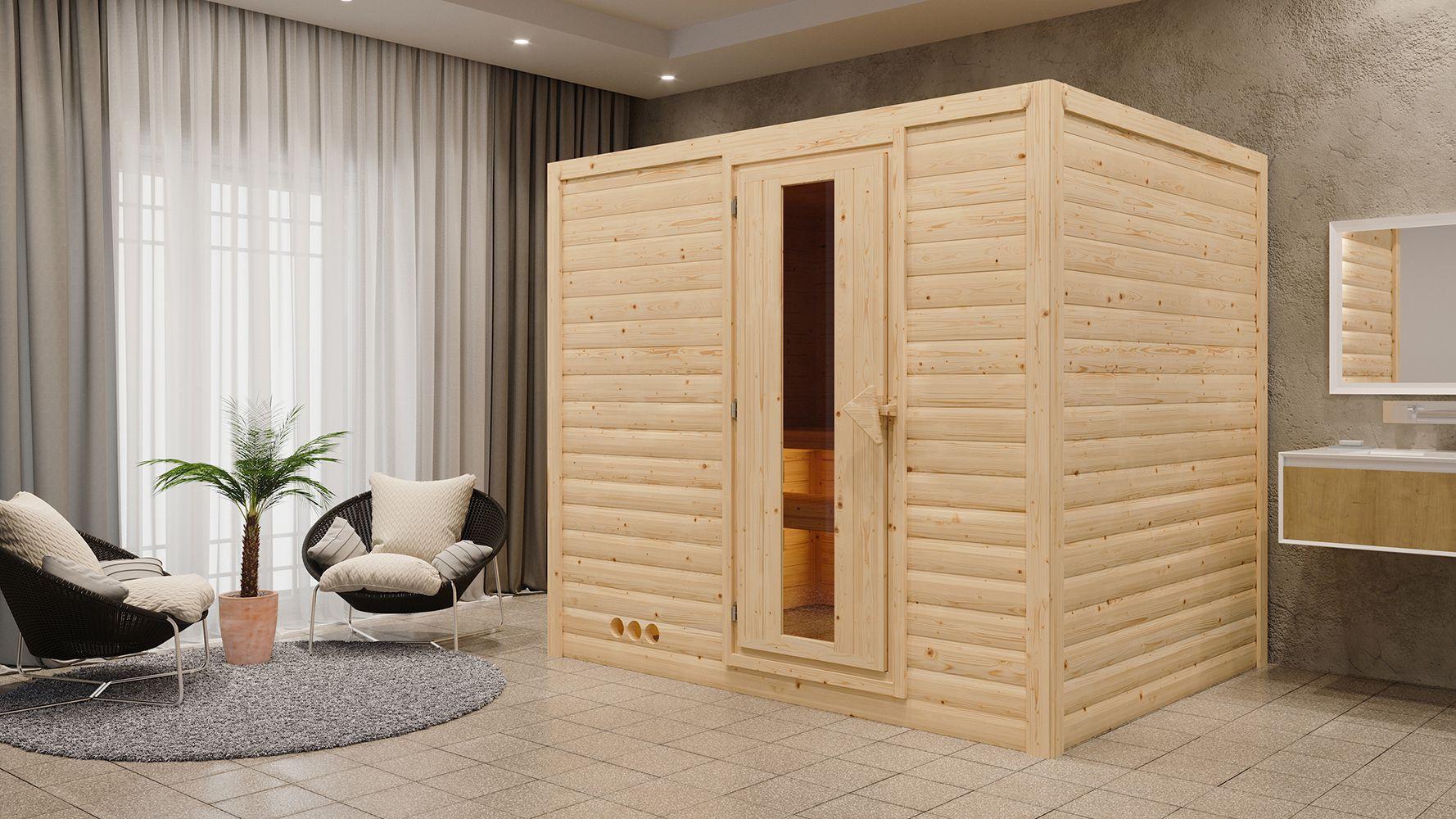 Sauna Camilia 01, 40 mm Wandstärke - 236 x 184 x 209 cm (B x T x H) - Ausführung:inkl. Ofen mit integrierter Steuerung