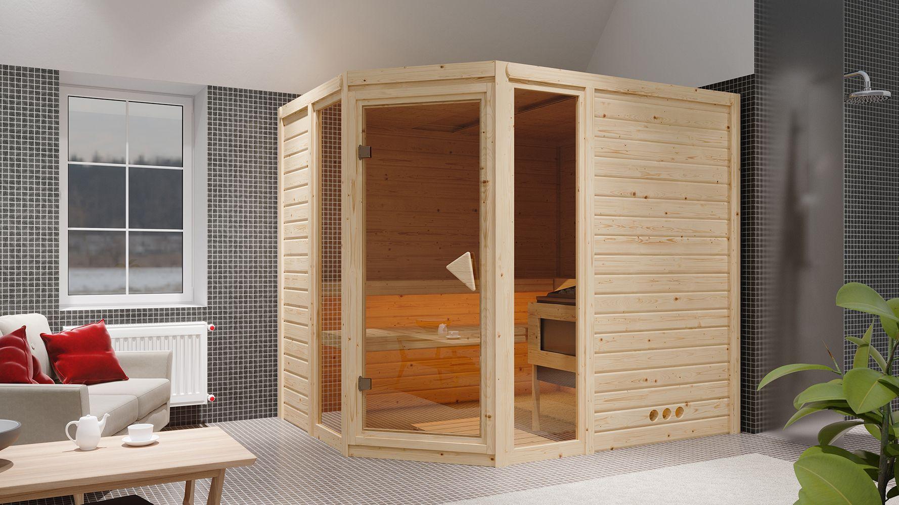 Massivholzsauna Nicole 01, 40 mm Wandstärke - 236 x 184 x 209 cm (B x T x H) - Ausführung:inkl. Ofen mit integrierter Steuerung