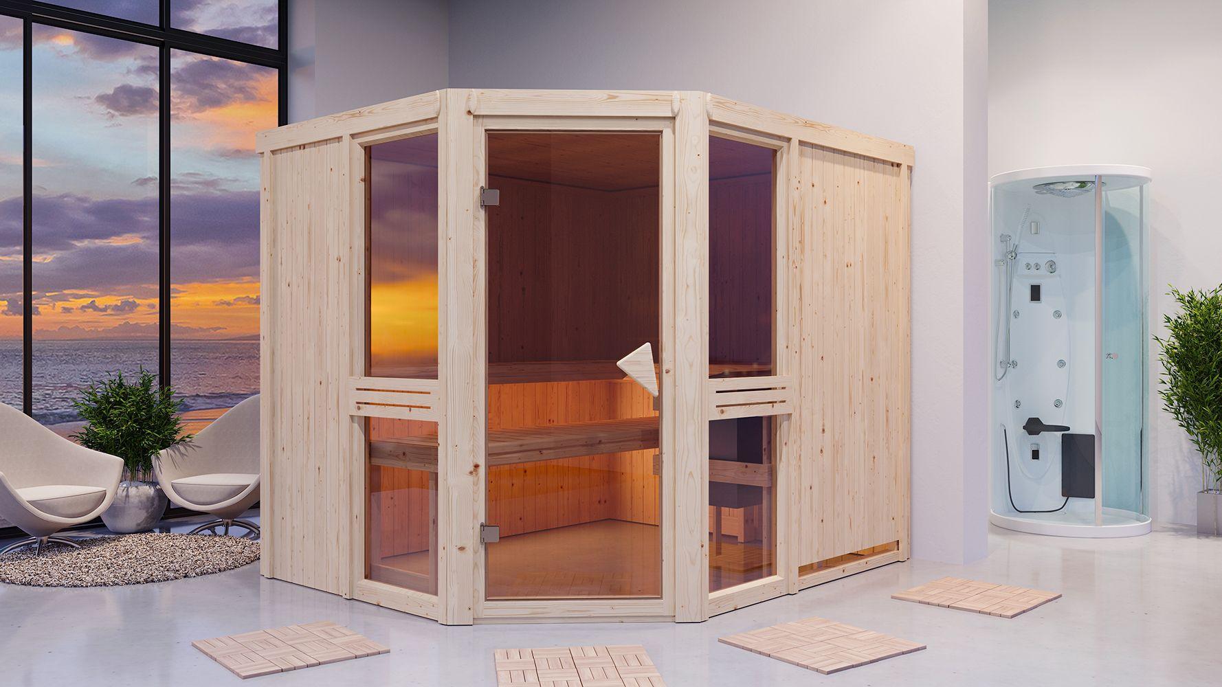 Sauna Alessia 03, 68 mm Wandstärke - 231 x 196 x 198 cm (B x T x H) - Ausführung:inkl. Bio-Ofen mit externer Steuerung