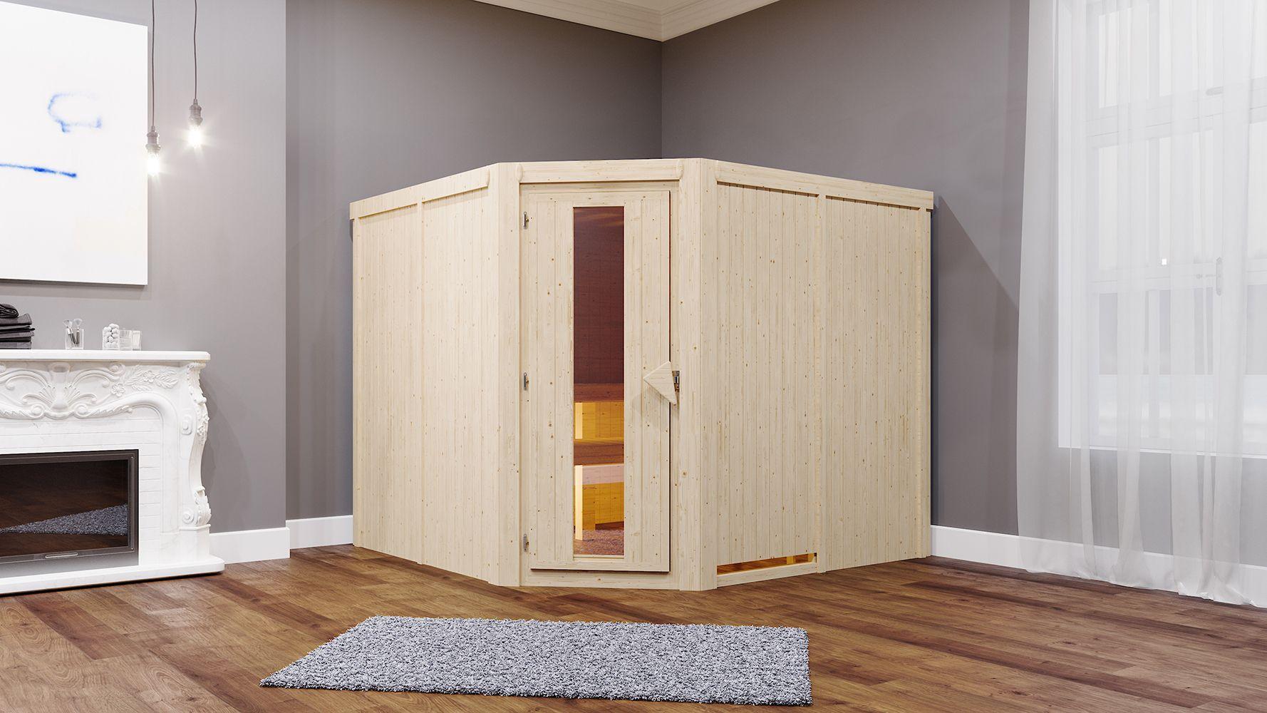 Sauna Anna 01, 68 mm Wandstärke - 231 x 196 x 198 cm (B x T x H) - Ausführung:inkl. Bio-Ofen mit externer Steuerung