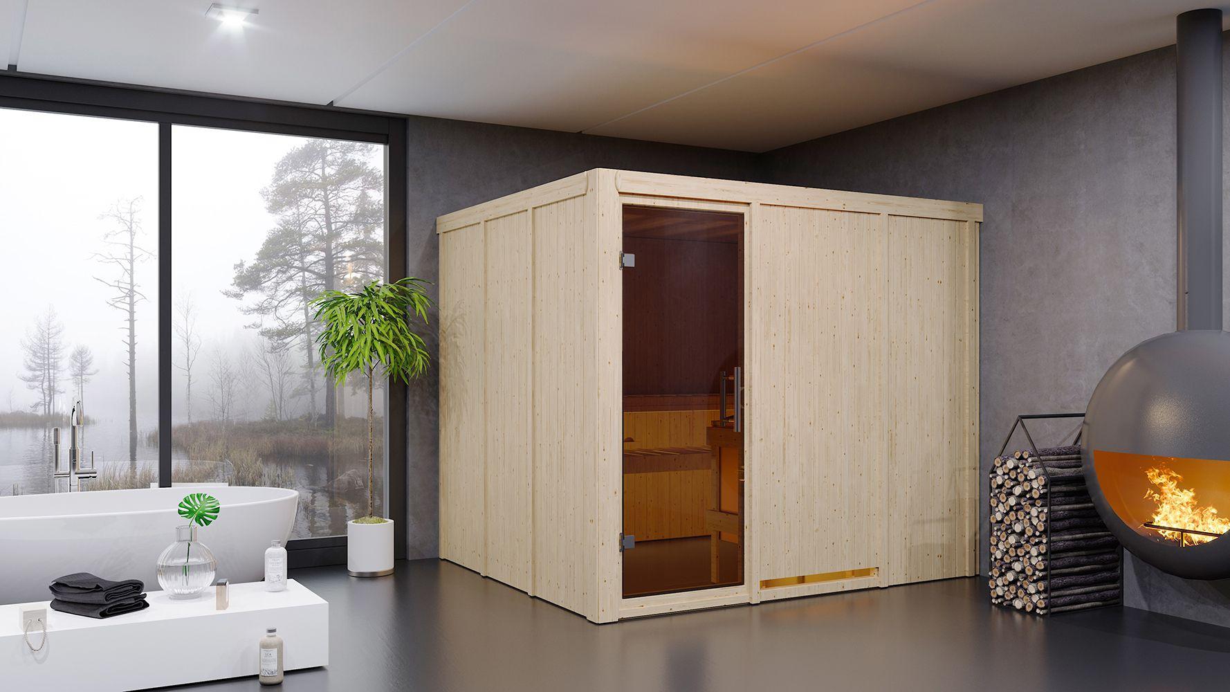 Sauna Sara 05, 68 mm Wandstärke - 231 x 196 x 198 cm (B x T x H)