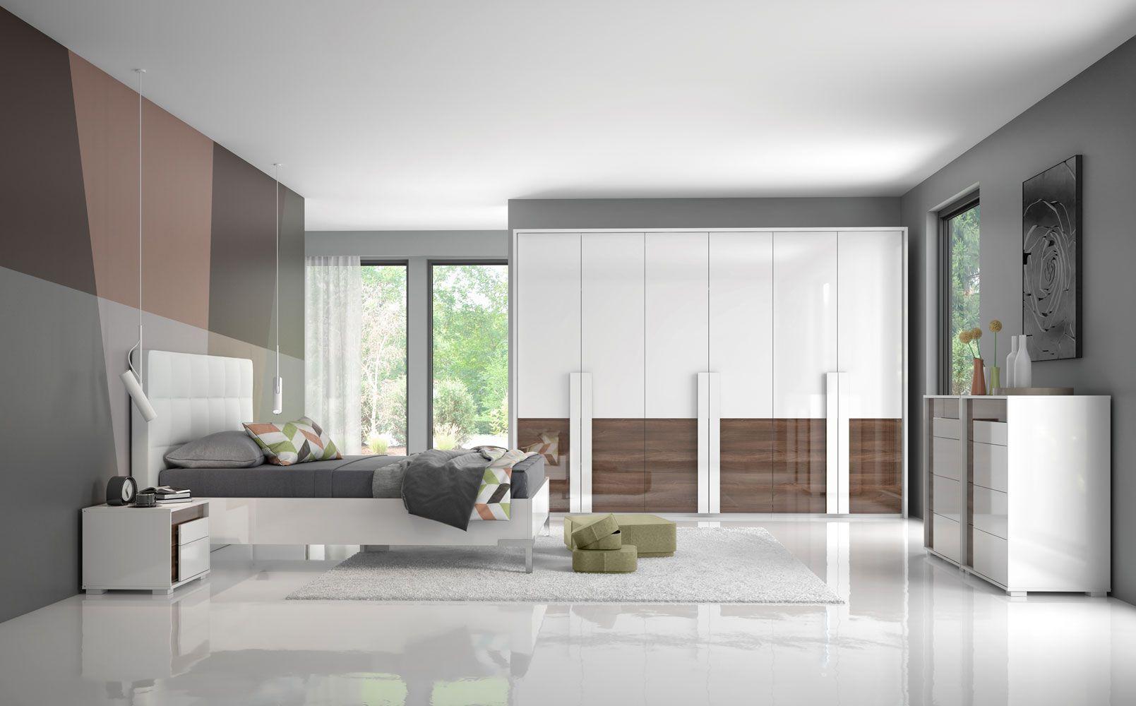 Schlafzimmer Komplett - Set B Afega, 9-teilig, Farbe: Weiß Hochglanz / Nuss Hochglanz inkl. LED-Rahmen für Kleiderschrank