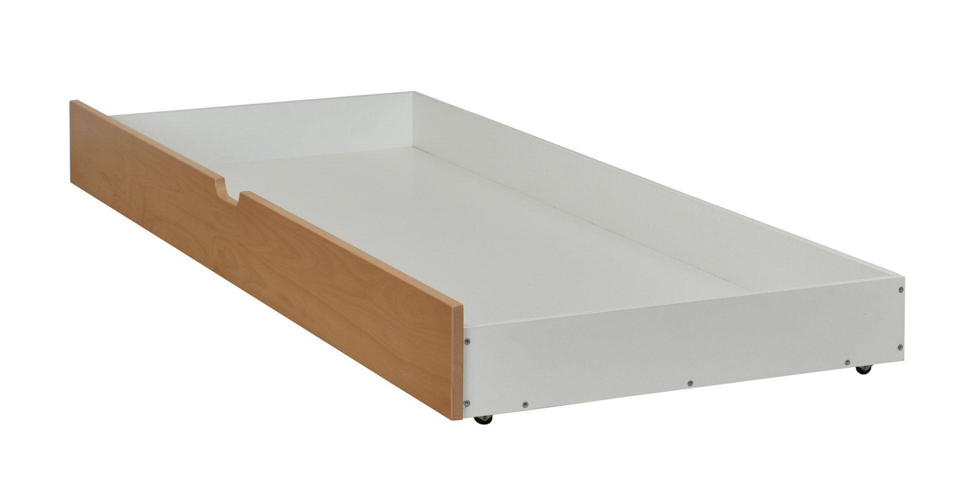 Schublade für Bett Benidorm und Pontevedra, teilmassiv, Farbe: Buche / Weiß - 18 x 199 x 78 cm (H x B x L)