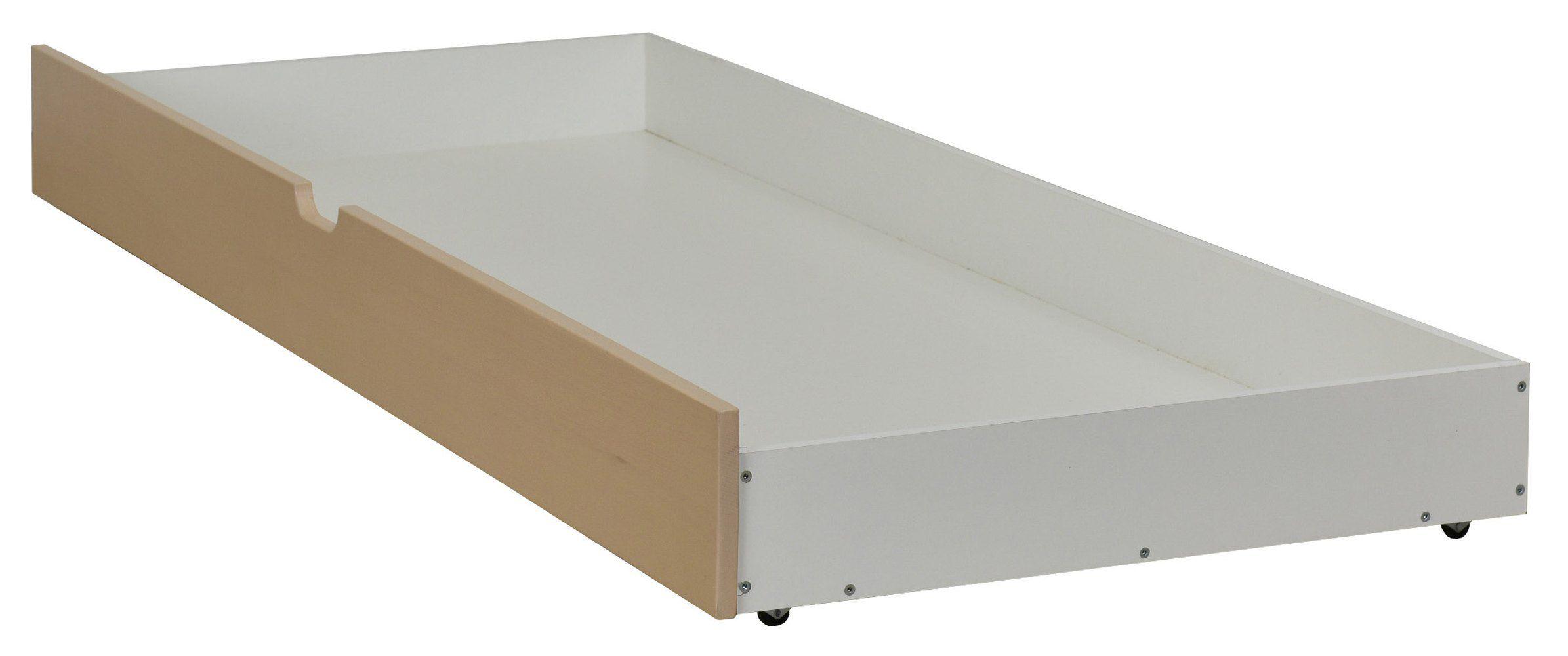 Schublade für Bett Benidorm und Pontevedra, teilmassiv, Farbe: Eiche / Weiß - 18 x 199 x 78 cm (H x B x L)