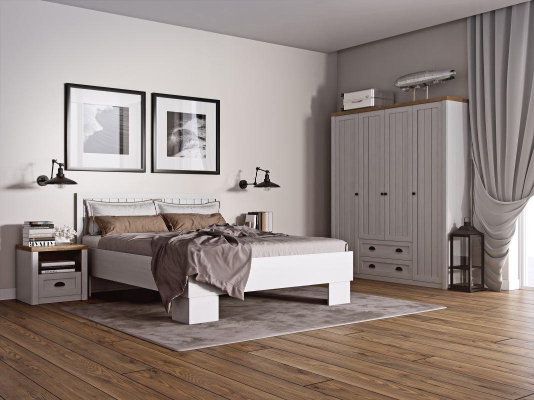 Schlafzimmer Komplett - Set C Segnas, 4-teilig, Farbe: Kiefer Weiß / Eiche Braun