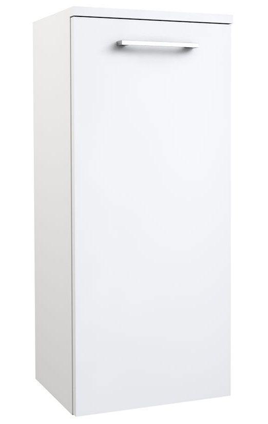 Badezimmer - Seitenschrank Rajkot 90, Farbe: Weiß glänzend – 80 x 35 x 28 cm (H x B x T)