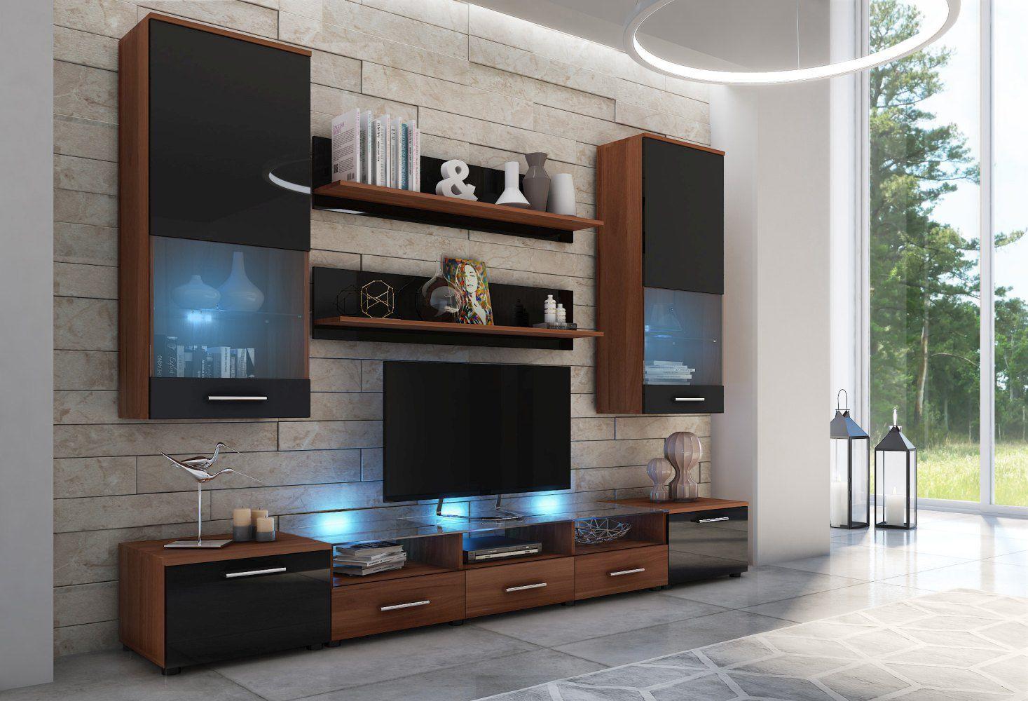 Wohnzimmer - Set D Seriola, 7-teilig, Farbe: Dunkelbraun / Schwarz Glanz