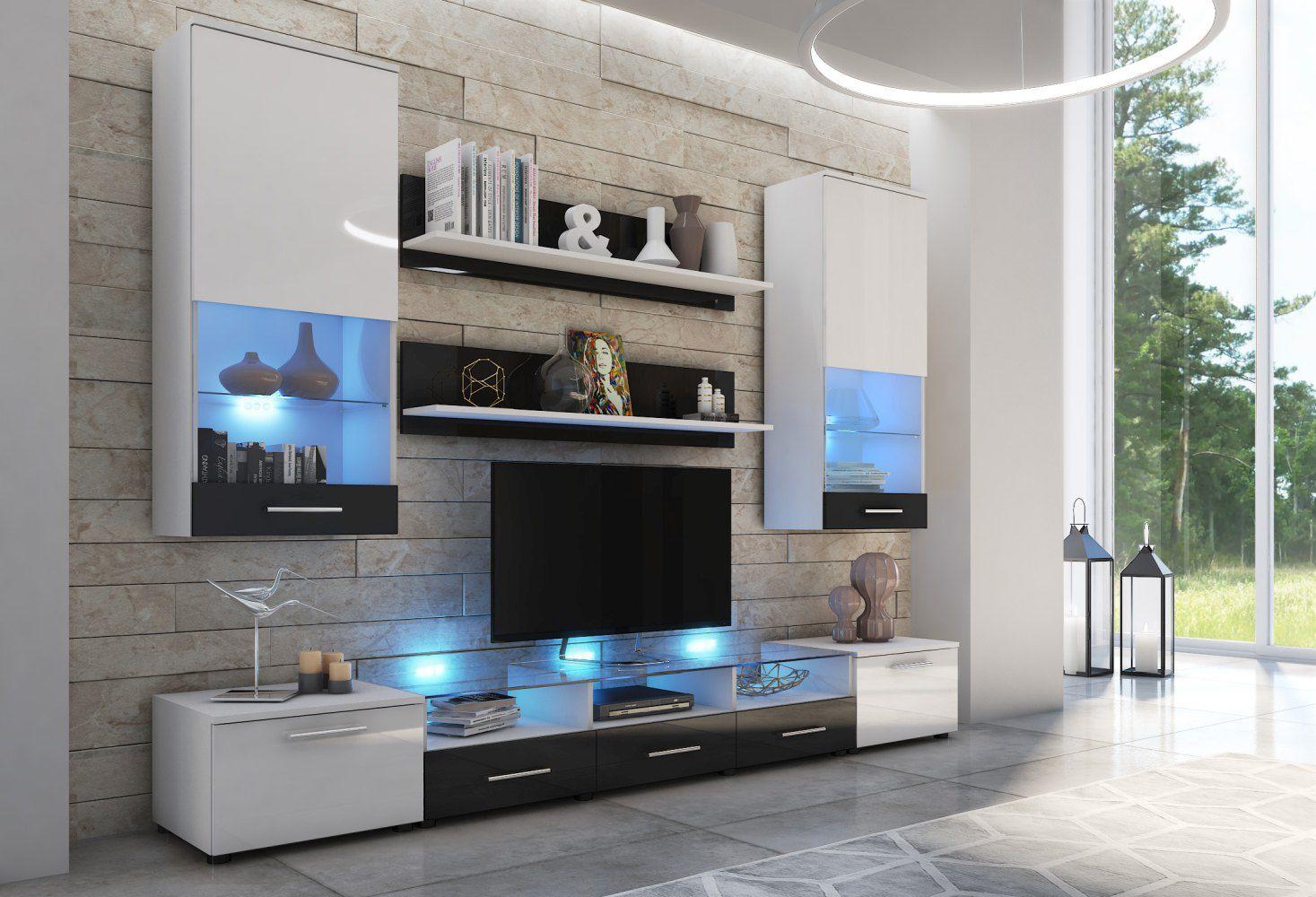 Wohnzimmer - Set F Seriola, 7-teilig, Farbe: Weiß / Weiß Glanz / Schwarz Glanz