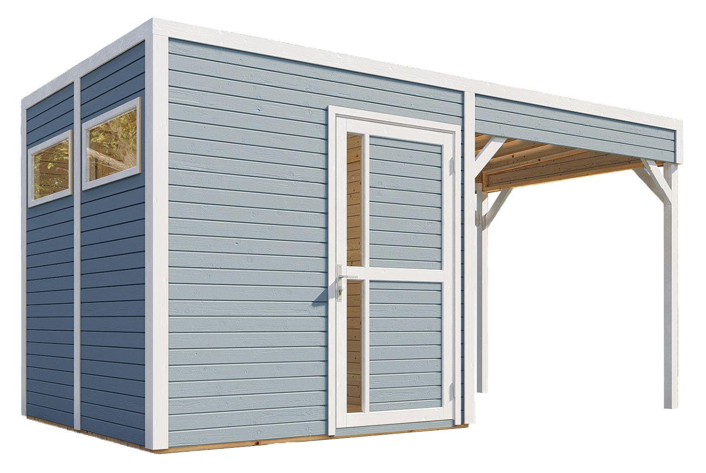 Gartenhaus Basel 02 mit Anbaudach inkl. Fußboden und Dachpappe, Hellgrau lackiert - 19 mm Elementgartenhaus, Nutzfläche: 5,10 m², Flachdach