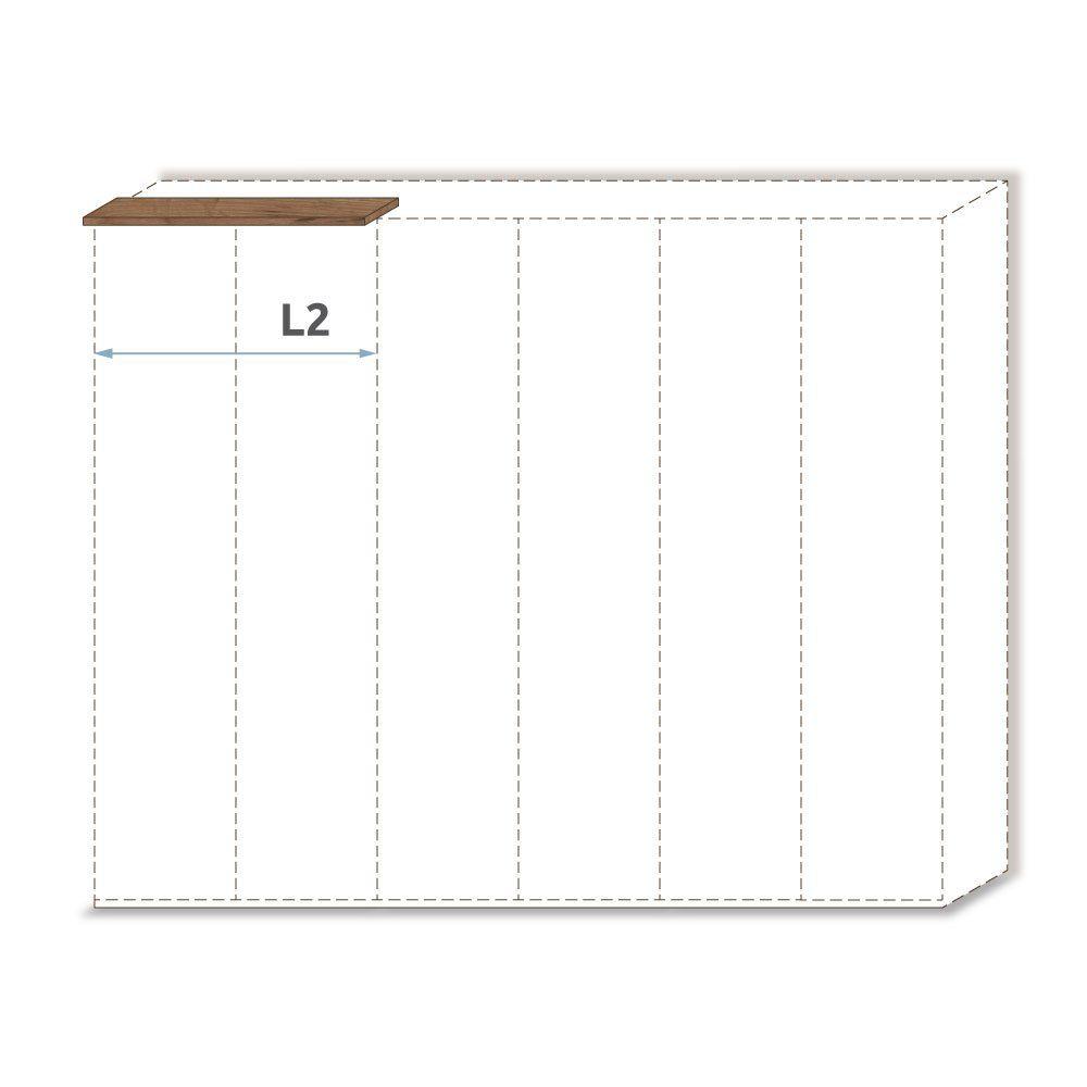 Oberer Rahmen für Drehtürenschrank / Kleiderschrank Manase 15 und Anbaumodule, Farbe: Eiche Braun - Breite: 102 cm