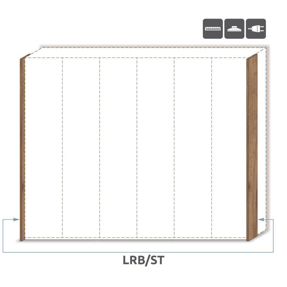 Seitlicher LED-Rahmen für Drehtürenschrank / Kleiderschrank Manase 15 und Anbaumodule, Farbe: Eiche Braun - Höhe: 226 cm
