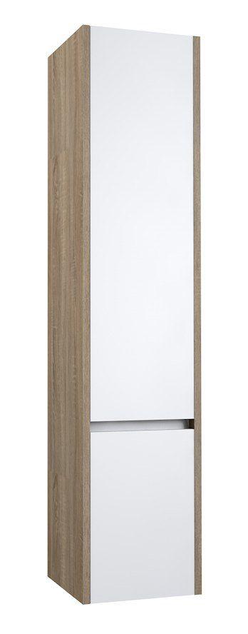 Badezimmer - Hochschrank Kolkata 89, Farbe: Weiß glänzend / Eiche grau – 160 x 35 x 35 cm (H x B x T)