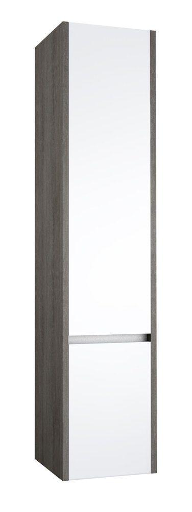 Badezimmer - Hochschrank Kolkata 90, Farbe: Weiß glänzend / Esche grau – 160 x 35 x 35 cm (H x B x T)