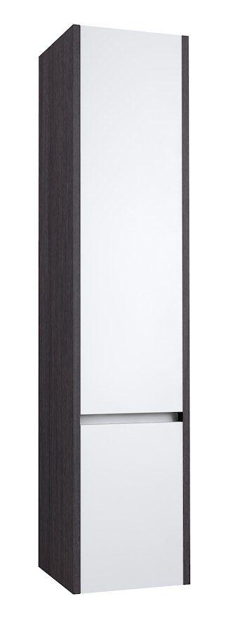 Badezimmer - Hochschrank Kolkata 88, Farbe: Weiß glänzend / Eiche schwarz – 160 x 35 x 35 cm (H x B x T)
