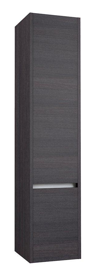 Badezimmer - Hochschrank Kolkata 82, Farbe: Eiche schwarz – 160 x 35 x 35 cm (H x B x T)