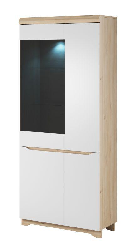 Vitrine Bizerte 03, Farbe: Buche / Weiß - 199 x 85 x 37 cm (H x B x T)
