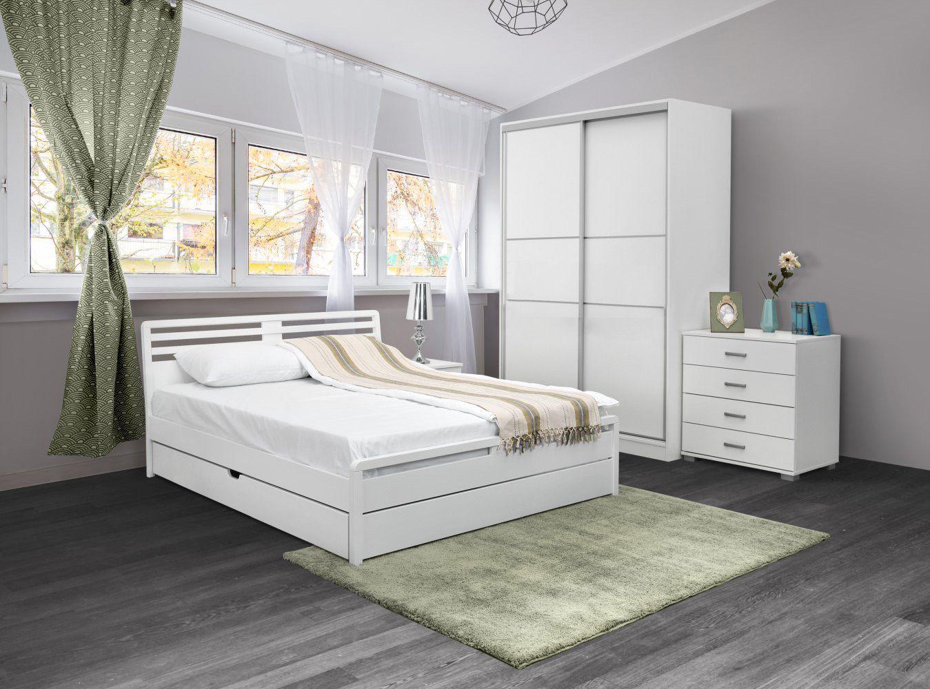 Schlafzimmer Komplett - Set G Pontevedra, 6-teilig, teilmassiv, Farbe: Weiß