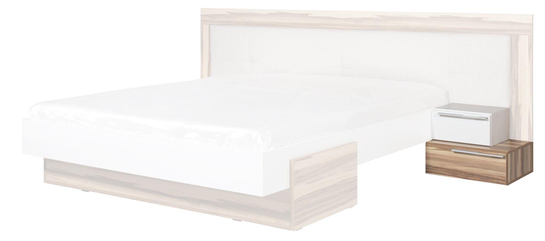 """Nachtkästchen """"Andenne"""" 06, Weiß / Walnuss - Abmessungen: 38 x 51 x 44 cm (H x B x T)"""