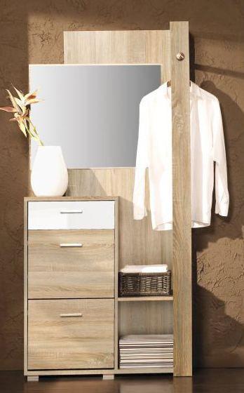 """Garderobe """"Tremelo"""" 02, Eiche Sonoma / Weiß glänzend- Abmessungen: 192 x 90 x 31 cm (H x B x T)"""
