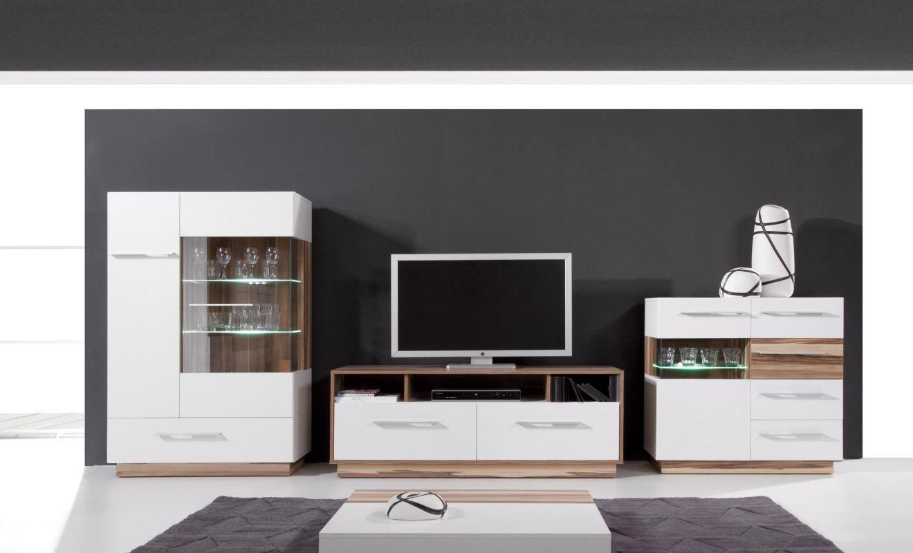 """Wohnzimmer Komplett - Set B """"Tinlot"""", 3-teilig, Weiß / Walnuss"""