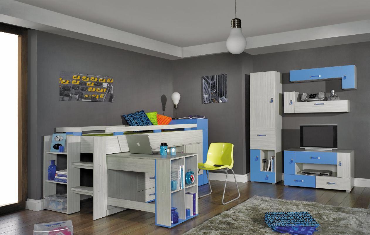 """Kinderzimmer Komplett - Set B """"Felipe"""", 5-teilig, Blau / Weiß"""