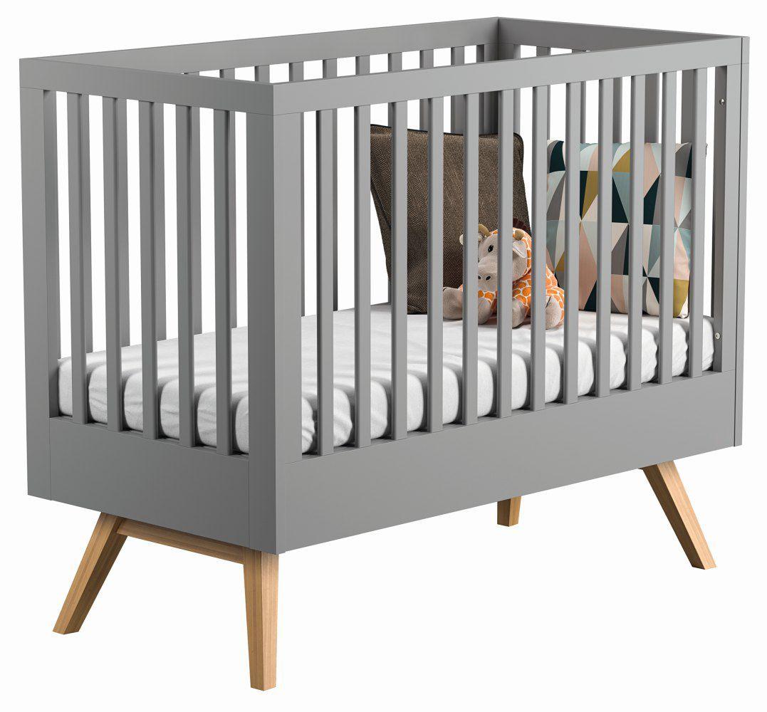 Babybett / Gitterbett Skady 06, Farbe: Grau / Eiche - Liegefläche: 70 x 140 cm (B x L)