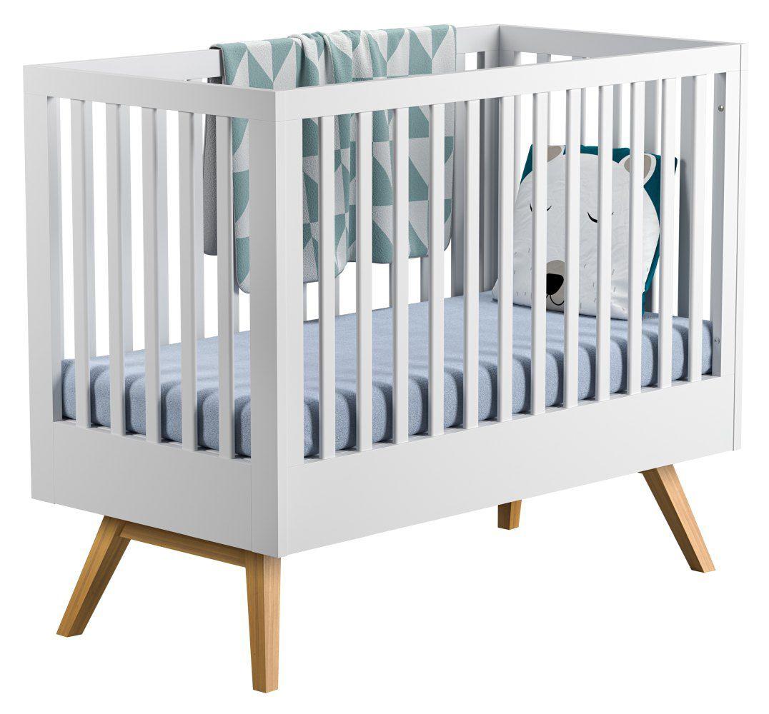 Babybett / Gitterbett Naema 01, Farbe: Weiß / Eiche - Liegefläche: 60 x 120 cm (B x L)