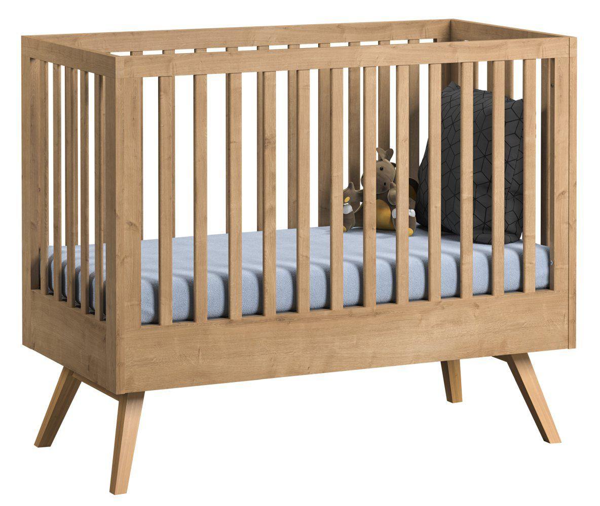 Babybett / Gitterbett Skady 10, Farbe: Eiche - Liegefläche: 70 x 140 cm (B x L)
