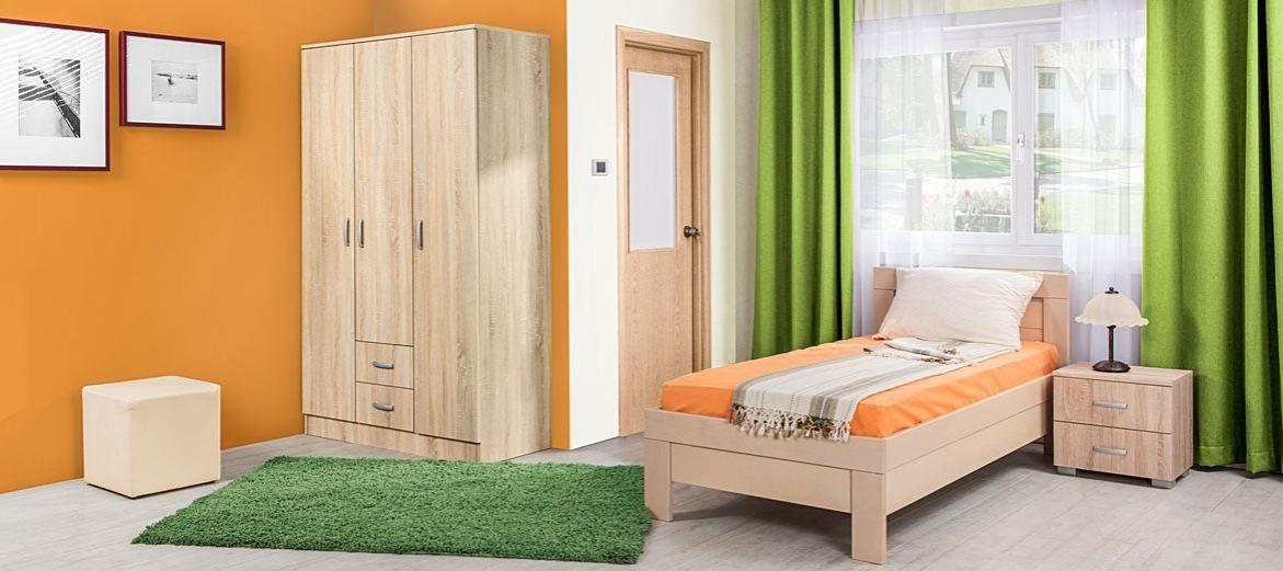 Schlafzimmer Komplett - Set E Sidonia, 3-teilig, teilmassiv, Farbe: Eiche Braun