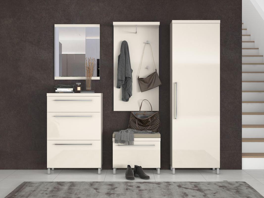 Garderobe Komplett - Set A Siusega, 5-teilig, Farbe: Creme