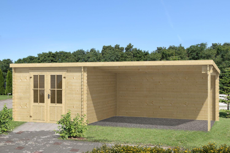 Gartenhaus G135 - 28 mm Blockbohlenhaus, Grundfläche: 19,88 m², Pultdach