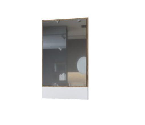 Spiegel Manase 14, Farbe: Eiche Braun / Weiß Hochglanz - 81 x 63 x 2 cm (H x B x T)
