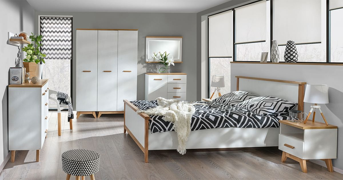 Schlafzimmer Komplett - Set B Panduros, 7-teilig, Farbe: Kiefer Weiß / Eiche Braun