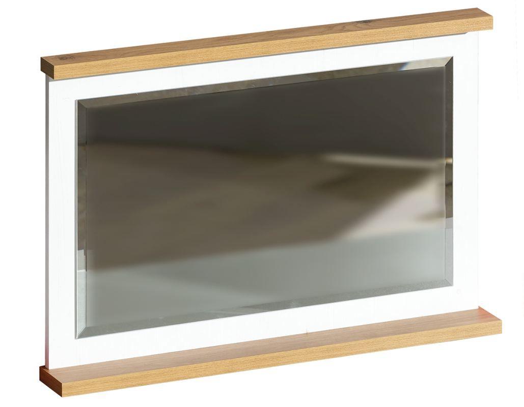 Spiegel Panduros 14, Farbe: Kiefer Weiß / Eiche Braun - Abmessungen: 59 x 85 x 10 cm (H x B x T)