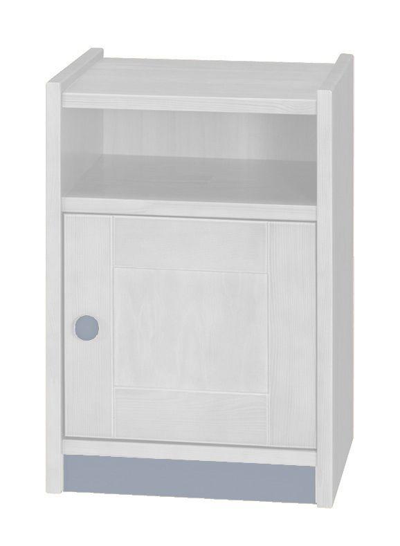 Nachtkästchen Milo 10, Farbe: Weiß / Grau, Kiefer Vollholz massiv - Abmessungen: 56 x 38 x 40 cm (H x B x T)