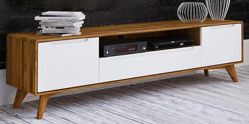 TV-Unterschrank Timaru 28 Wildeiche geölt / Weiß, teilmassiv - Abmessungen: 48 x 180 x 40 cm (H x B x T)