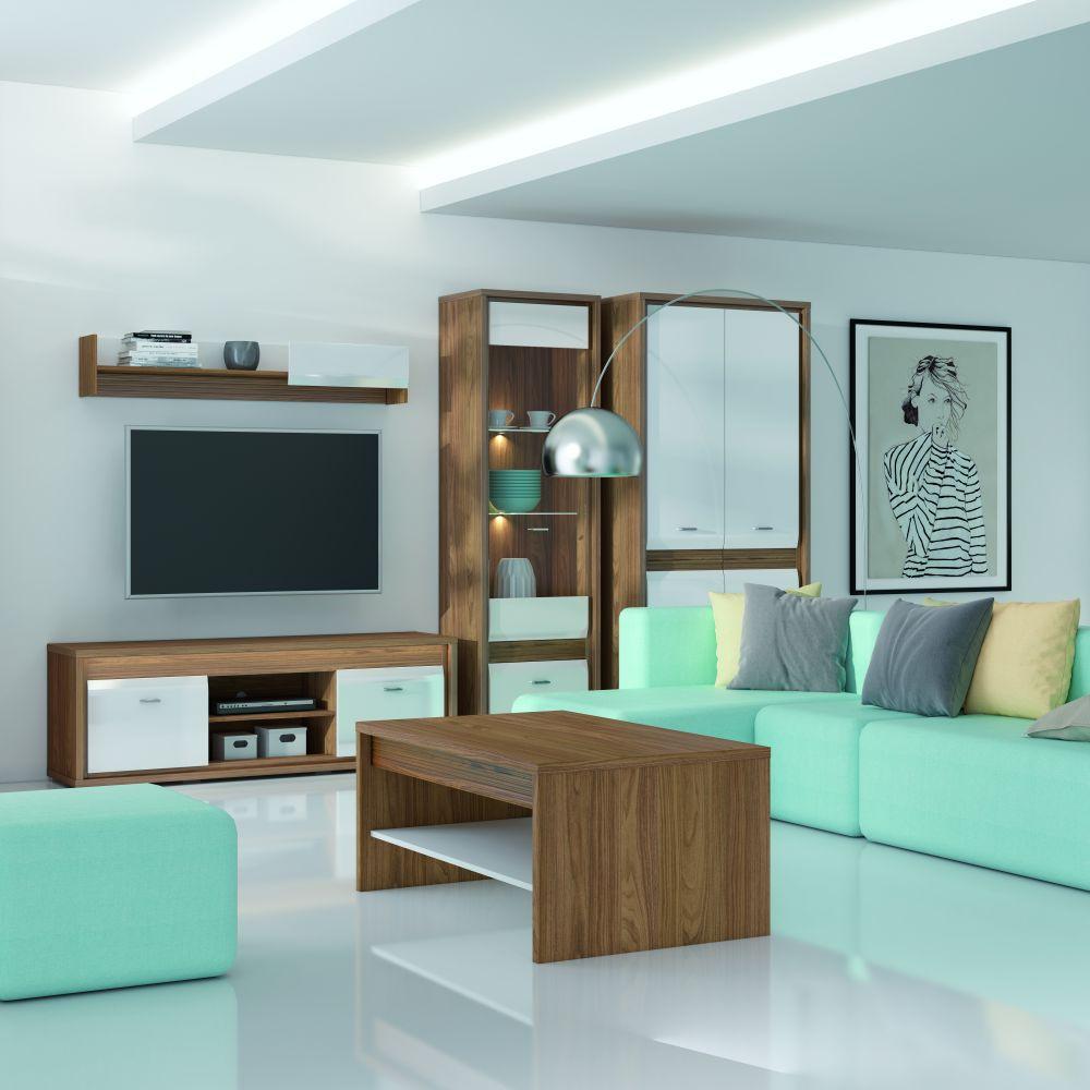 Wohnzimmer Komplett - Set D Tempe, 5-teilig, Farbe: Nussfarben / Weiß Hochglanz, Fronteinsatz: Nussfarben
